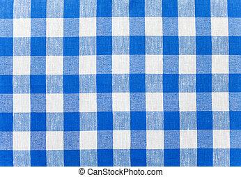 blauwe , tafelkleed, gecontroleerde, weefsel