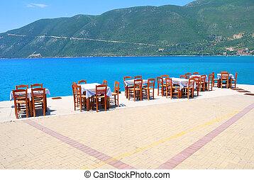 blauwe , tafels, het dineren, stoelen, taverna, haven, griekse , s