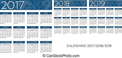 blauwe , textured, jaar, vector, spaanse , 2017-2018-2019, kalender