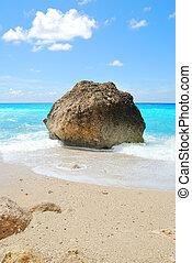 blauwe , turkoois, groot, zonnig, zee, rots, strand, hemel