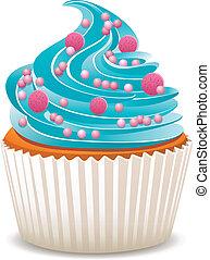 blauwe , vector, bestrooit, cupcake