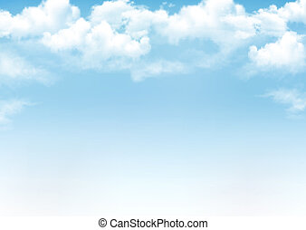 blauwe , vector, hemel, achtergrond, clouds.