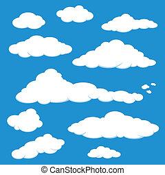 blauwe , vector, hemel wolk