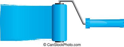 blauwe , vector, illustratie, verf , deel, borstel, verf , 2, rol