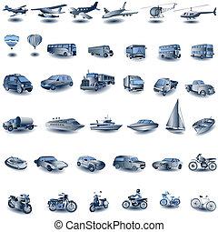 blauwe , vervoeren, iconen