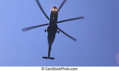 blauwe , vliegen, hemel, namiddag, boven, helikopter, grond