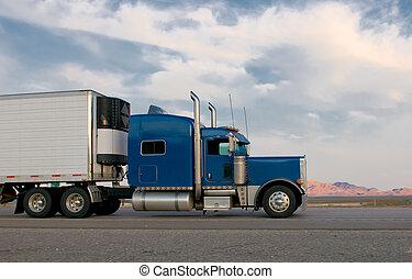 blauwe , vrachtwagen, verhuizing, snelweg