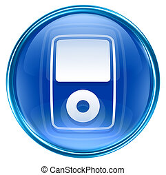 blauwe , vrijstaand, speler, mp3, achtergrond, witte