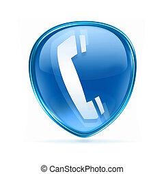 blauwe , vrijstaand, telefoon, achtergrond, witte , pictogram
