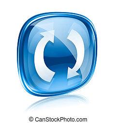blauwe , vrijstaand, verversen, achtergrond., glas, witte , pictogram