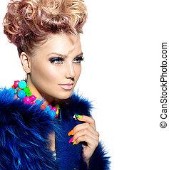 blauwe , vrouw, vacht, beauty, jas, mode, verticaal