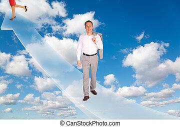 blauwe , vrouw, wolken, collage, pluizig, hemel, richtingwijzer, witte , man