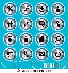 blauwe , website, set, iconen