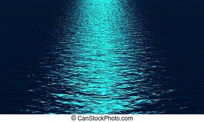blauwe , weerspiegelen, oceaan, licht