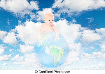 blauwe , weinig; niet zo(veel), wolken, collage, globe, hemel, witte , baby, aarde, pluizig