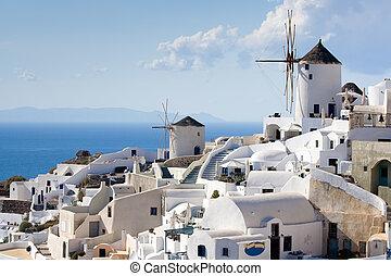 blauwe , windmolen, cyclades, old-style, eiland, griekenland, hemel, oia, achtergrond, traditionele , santorini, zee, dorp, witte , terrasvormig, egeïsch