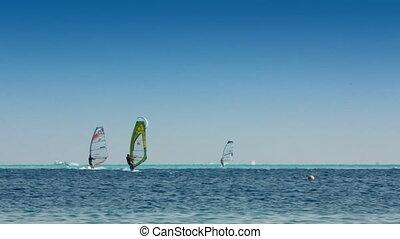blauwe , windsurfers, surfing, -, oppervlakte, zee, kitesurfer