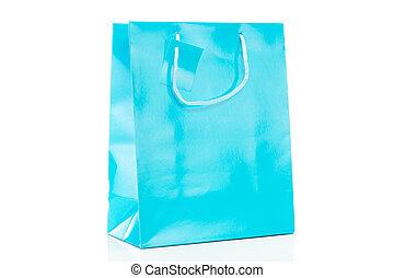 blauwe , winkeltas, enkel, achtergrond, witte