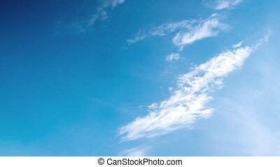blauwe , witte , timelapse, achtergrond, wolken, hemel