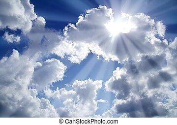 blauwe , wolken, balken, hemellicht, witte