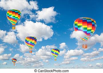 blauwe , wolken, collage, pluizig, hemel, lucht, warme, witte , ballons