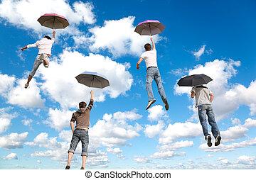 blauwe , wolken, collage, pluizig, vliegen, hemel, vier, achter, witte , vrienden, paraplu's