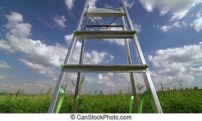 blauwe , wolken, ladder, hemel, tegen, pluizig
