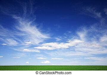 blauwe , wolken, lente, groen veld, witte , hemelen