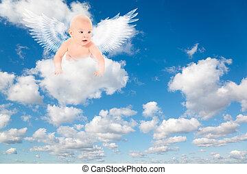 blauwe , wolken, sky., pluizig, clouds., achtergrond, witte