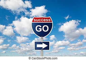 blauwe , wolken, succes, collage, pluizig, hemel, meldingsbord, witte , gaan
