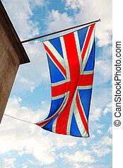 blauwe , wolken, wind., hemel, brits, het watergolven dundoek, achtergrond, witte