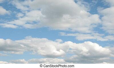blauwe , wolken, wrakkigheid, hemel, tijd, op