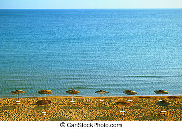 blauwe , zakynthos, eiland, water, zee, strand, zanderig