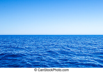 blauwe , zee, sky., zeezicht, duidelijk, middellandse zee, gezichtseinder lijn
