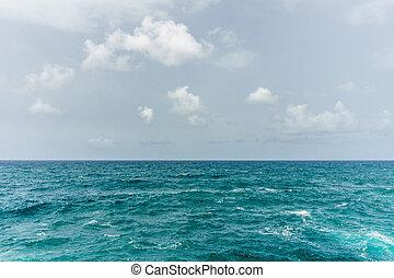 blauwe , zeezicht, abstract, middellandse zee, water, achtergrond., zee