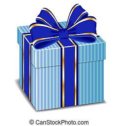 blauwe zijde, cadeau, vector, boog, doosje
