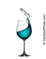 blauwe , zoals, aperitiefglas, het bespaten, drank, vrijstaand, golf, water, achtergrond., gespetter, glas., zee, close-up., witte wijn