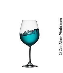 blauwe , zoals, aperitiefglas, het bespaten, drank, vrijstaand, golf, water, achtergrond., gespetter, glas., zee, witte wijn, closeup.