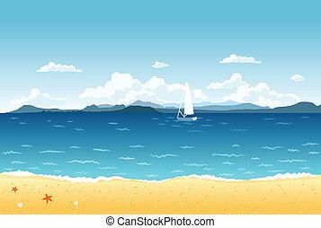 blauwe , zomer, zeilend, bergen, landscape, zee, scheepje, horizon.