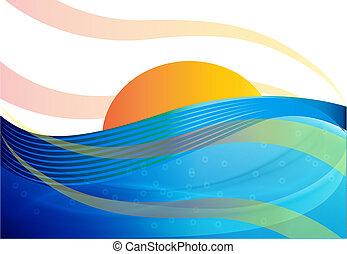 blauwe , zon achtergrond, golven