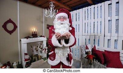 blazen, kamer, boompje, sneeuw, kerstman, camera., openhaard, kerstmis