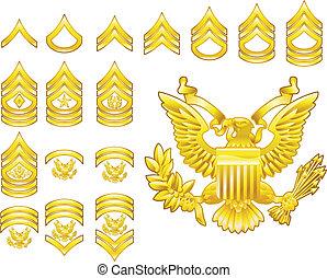 blazoen, leger, iconen, rang, amerikaan, aangewervenene