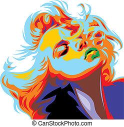blik, marilyn, meisje, blonde, monroe, zoals
