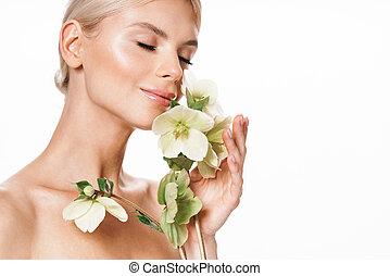 bloem, aantrekkelijk, beeld, het glimlachen, shirtless, het poseren, vrouw