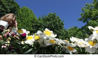 bloem, peony, mama, tijd, baby meisje, geur, bloemen, eerst