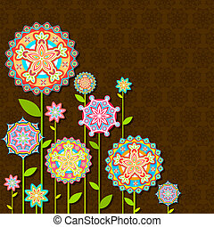 bloem, retro, kleurrijke