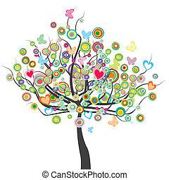 bloemen, cirkel, boompje, vlinder, vorm, bladeren, gekleurde