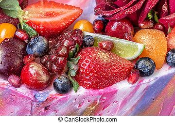 bloemen, close-up., fruit, details, taart