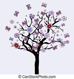 bloemen, floral, vlinder, abstract, boompje