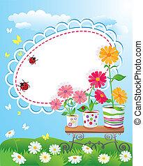 bloemen, frame, zomer